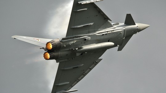 RAF Typhoon With Afterburners Lit Up