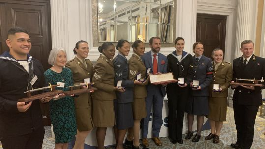 UKAF Awards category winners with Gareth Southgate at the RAF Club.
