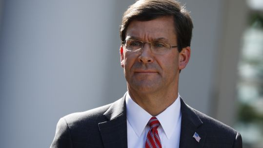 US Defence Secretary Mark Esper outside the White House (Picture: PA).
