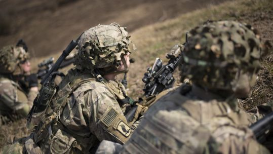 US soldiers from 1st Squadron, 91st Cavalry Regment, 173 Airborne Brigade, during a live fire exercise at Grafenwoehr Training Area in Germany