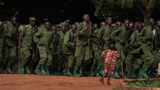 Ugandan soldiers gather in Singo ready for Somalia deployment 010819 CREDIT PA