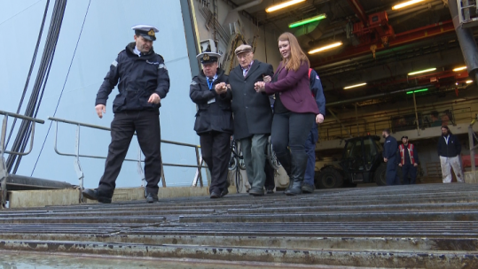 Lloyd Seaward, who survived the sinking of HMS Exeter in 1942 and was taken prisoner by the Japanese, travelled over for a reunion of HMS Exeter veterans.