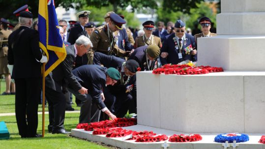 Veterans laying a wreath during The Royal British Legion's Service of Remembrance at the Commonwealth War Graves Commission Cemetery (Picture: MOD).