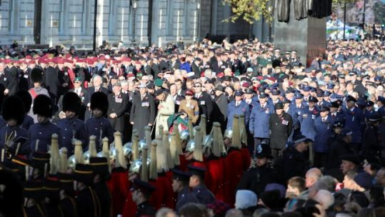 Veterans, serving personnel and charity workers at Cenotaph on Remembrance Sunday
