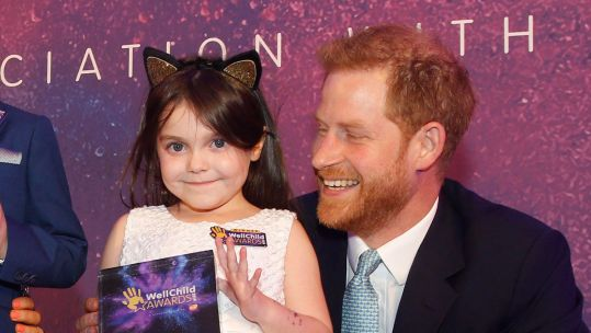 Lyla O'Donovan Duke Of Sussex HRH Prince Harry WellChild Award Credit: Brain Tumour Research