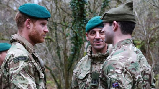 WO2 Daz Joyce and Marine Dylan Joyce with Prince Harry
