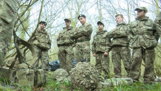 Warminister school's combined cadet force during the field craft trip 050319 CREDIT BFBS