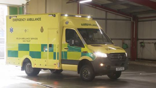 Welsh Ambulance service vehicle in motion driven by Army soldier 080221 CREDIT BFBS