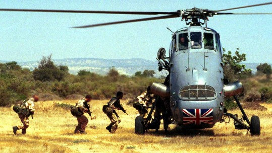 RAF Wessex helicopter during exercise in Cyprus