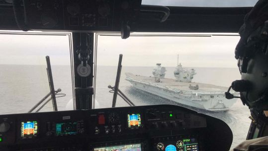 Wildcat helicopters land on HMS Elizabeth