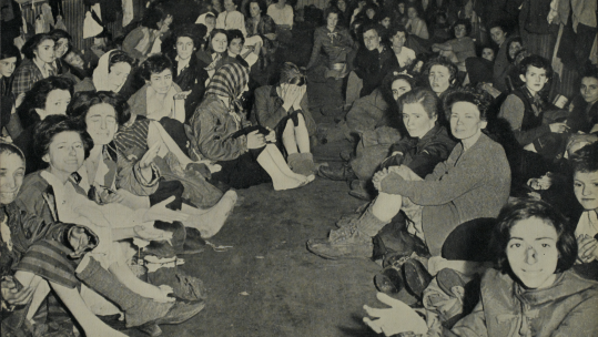 Women gathered at Bergen-Belsen