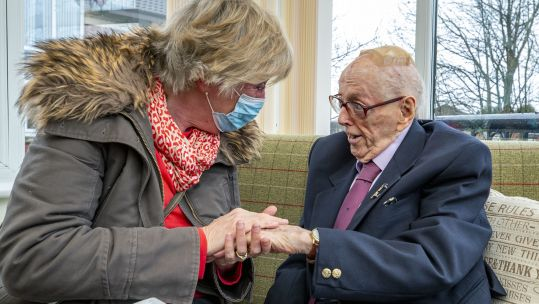 World War II veteran Eric Bradshaw is reunited with his daughter Ruth at Millfield Care Home, Oldham, Greater Manchester