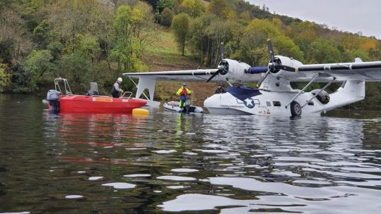 World War Two seaplane PBY Catalina flying boat 'Miss Pick Up' engine failure in Loch Ness Appealing For Engine replacement money 221020 CREDIT CENTURYPR