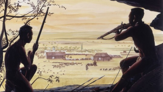 Zulus observe Rorke's Drift from Shiyane Hill