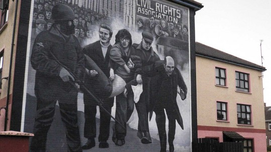 Mural in Londonberry commemorating Bloody Sunday killings