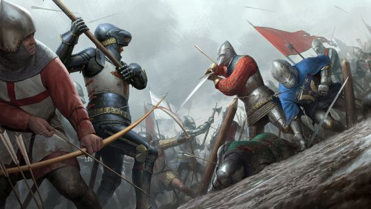 French knights attack English knights and archers at Agincourt in 1415