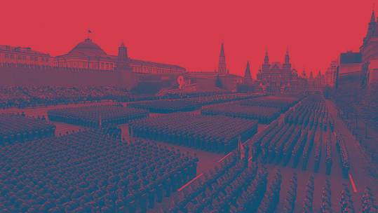 Russian military parade in Red Square in duotone