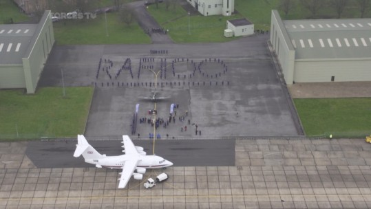 RAF cadets formed a human RAF 100 sign to welcome the veterans.