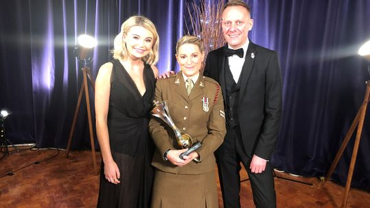 Isabell Hutchinson with Anthony Cotton at the Millies 2018