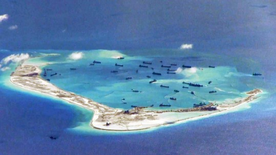 Chinese Dredgers At Mischief Reef In The Disputed Spratly Islands