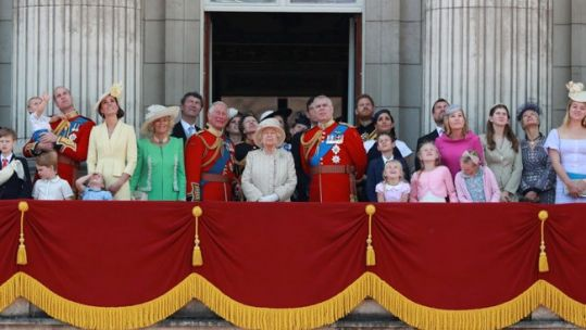 The Royal family watch a flypast to mark The Queen's birthday. Picture: MOD