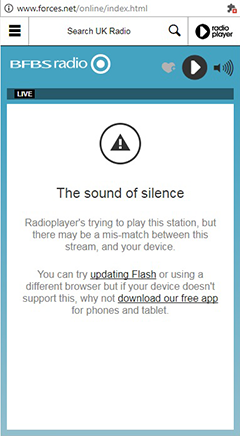 BFBS Radio Player - Sound of Silence error screen